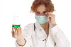 Red hair  doctor conducting tests in a laboratory Stock Image