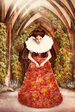 Red Hair Duchess in red Dress and Jabot in Ancient Abbey Stock Images