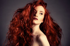 Red Hair. Fashion Girl Portrait Royalty Free Stock Photo
