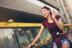 Red hair girl with bike  outdoor Stock Photography