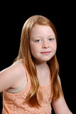 Red hair girl on black background Royalty Free Stock Photos