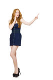 The red hair girl in black strapless dress isolated on white Stock Photos