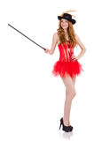 Red hair girl in carnival costume isolated on Royalty Free Stock Photos
