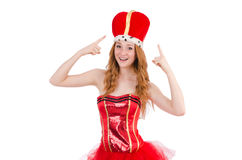 Red hair girl in carnival costume isolated on. The red hair girl in carnival costume isolated on white Stock Photography