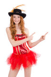 Red hair girl in carnival costume isolated on Royalty Free Stock Photo