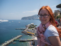 Red hair Girl in glasses traveling in Europe Italy - sorrento Royalty Free Stock Photo