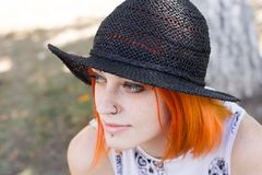 Red Hair Girl in hat Royalty Free Stock Photo