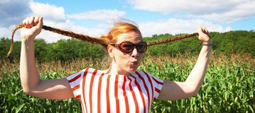 Red hair girl with braid Royalty Free Stock Photo