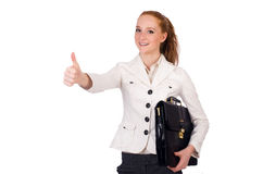 Red hair girl holding briefcase isolated on white Royalty Free Stock Photo