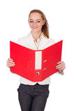 Red hair girl holding paper isolated on white Stock Photo