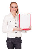 Red hair girl holding paper isolated on white Stock Photos
