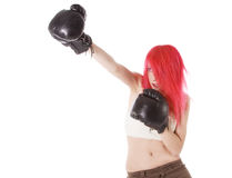 Red-hair girl kick boxer kicked in anger. Shouting Royalty Free Stock Photo