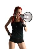 Red hair girl with megaphone Stock Photo