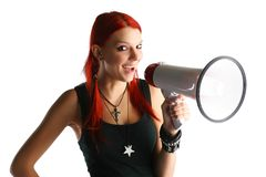 Red hair girl with megaphone Royalty Free Stock Photos