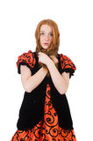 Red hair girl in orange dress isolated on white Stock Photo