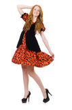 Red hair girl in orange dress isolated on white Royalty Free Stock Image