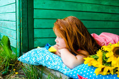 Red hair girl in the park Royalty Free Stock Photography