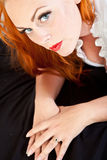 Red hair girl in pin-up style Stock Photo