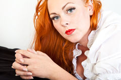 Red hair girl in pin-up style Royalty Free Stock Photo