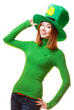 Red hair girl in Saint Patrick's Day leprechaun party hat Royalty Free Stock Photography