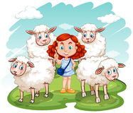 Red hair girl and sheep on the field Royalty Free Stock Photo