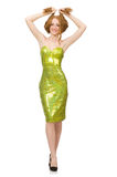 The red hair girl in sparkling green dress isolated on white Stock Image