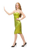 The red hair girl in sparkling green dress isolated on white Royalty Free Stock Photo