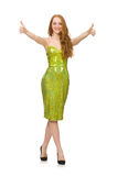 The red hair girl in sparkling green dress isolated on white Royalty Free Stock Images