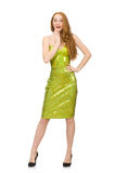 The red hair girl in sparkling green dress isolated on white Stock Photography