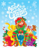 Red hair girl, X-mas Elf with gifts boxes, toys, presents. Royalty Free Stock Photos