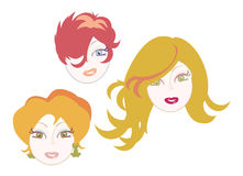 Red hair girls icons. Vector illustration of three red haired women faces royalty free illustration