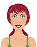 Red Hair Green Eyes Woman. Portrait of a beautiful caucasian woman smiling with red hair, green eyes and a chemise, isolated on white background. Eps file Stock Photos