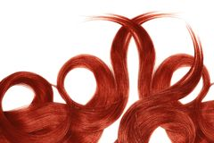 Red hair isolated on white background. Long beautiful ponytail in shape of circle. Natural healthy hair isolated on white background. Detailed clipart for your stock image