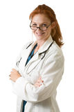 Red hair lady doctor stock images