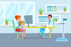 Red hair mother with her daughter on the pediatrician examination at polyclinic reception. Red hair mother with her daughter on the man pediatrician examination Royalty Free Stock Image