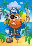 Red hair pirate with parrot. Color illustration Royalty Free Stock Image