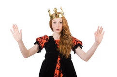 Red hair princess in orange dress isolated on Royalty Free Stock Image
