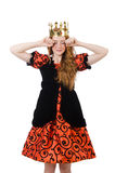 Red hair princess in orange dress isolated on Royalty Free Stock Images