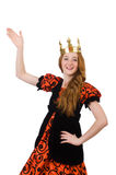 Red hair princess in orange dress isolated on Royalty Free Stock Photography