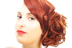 Red hair and red lips Stock Image