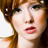 Red hair red lips stock image