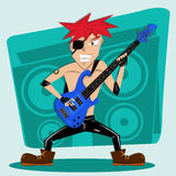 Red Hair rock bass player Stock Images