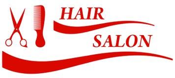 Red hair salon symbol. Red badge for barbershop - hair salon symbol Stock Images