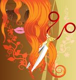 Red hair and scissors. On a brown background with an abstract floral ornament are a red-haired female image and large scissors Royalty Free Stock Image