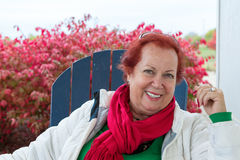 Red Hair Senior Lady in Autumn Royalty Free Stock Photo