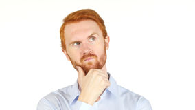 Red Hair Serious business man thinking, white background Royalty Free Stock Photography
