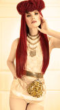 Red Hair Styling Stock Photo