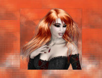 Red Hair Vampire on Orange Background Stock Photos