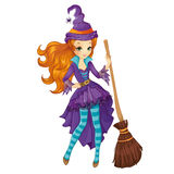 Red Hair Witch With Broom Stock Image