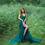 A red hair witch in green dress with long train Stock Images